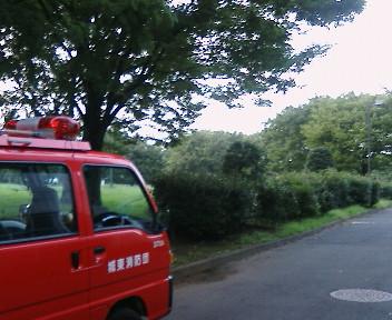 亀戸中央公園の花火警戒